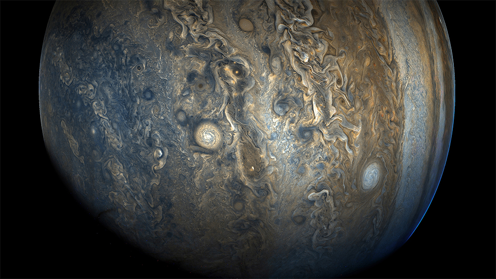 Jupiter's southern hemisphere photographed by NASA probe Juno.