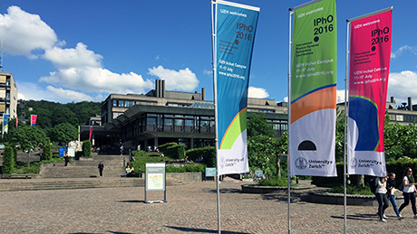 The flags of the IPhO 2016 are waving on Irchel Campus of the University of Zurich.