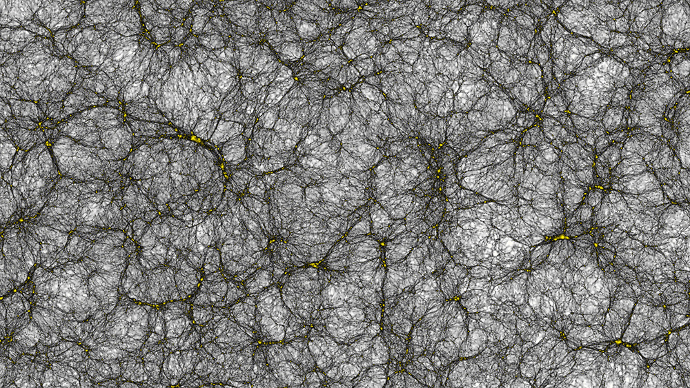 Parte da simulação, com halos de matéria escura indicadas com setas amarelas. Imagem: Joachim Stadel, UZH